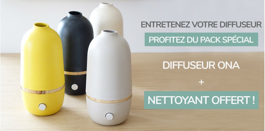 The onA range of diffusers and its cleanser offered